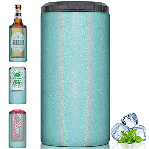 Beer Can Cooler 12oz 4-IN-1 Insulated skinny Can Cooler Insulator Double-Walled Stainless Steel Drink Cup Holder for Drink Slim Beer Soda Beverage (Sky blue)
