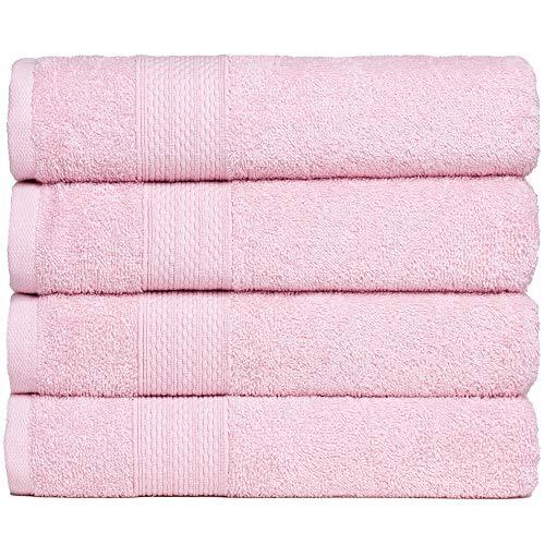 BRIELLE Handtuch-Set, 4 Handtücher 50x100 cm, Baumwolle Sehr saugfähige Handtücher für das Badezimmer, Duschtuch in Hotel- & Spa-Qualität, Packung mit 4, Rosa Farbe