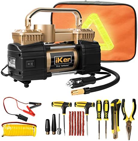 iKer Portable Air Compressor Heavy Duty Tire Inflator for Car Truck SUV 12V 70L Min Double Cylinders product image