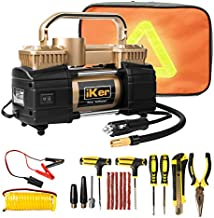 iKer Portable Air Compressor Heavy Duty Tire Inflator for Car, Truck, SUV,12V 70L/Min Double Cylinders Metal Air Pump 150PSI with LED Work Lights,11.5ft Extension Air Hose and Tire Repair Kit