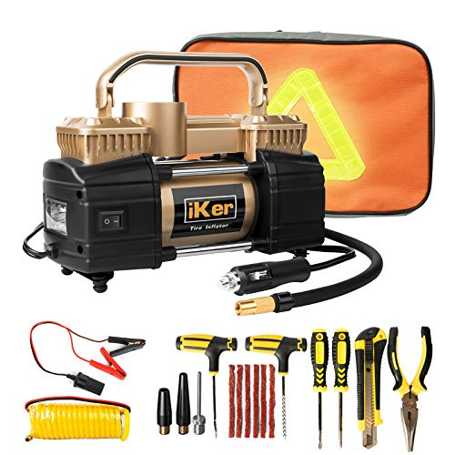 iKer Portable Tire Inflator Air Compressor Pump for Car,12V 70L/Min Heavy Duty Double Cylinders Metal Air Pump 150PSI with LED Work Lights,16.5ft Extension Air Hose and Tire Repair Kit