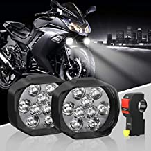 Motorcycle LED Headlight Bulbs with Switch, Universal Super Bright Driving Fog SpotLight DRL, High/Low Beam/Strobe Flashing White Headlamp(Pack of 2)