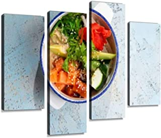 4 Panel Salmon tartare with avacado and herbs in a plate Canvas Print Pictures Modern Home Decor Posters Gifts Abstract Ph...