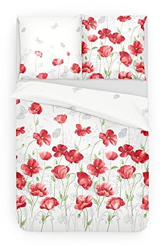 Träumschön Blumen Bettwäsche 135x200 2tlg | Bettwäsche Mohnblumen | Renforce Bettwäsche 135x200 Blumen | Tolle Sommer Bettwäsche Blumen