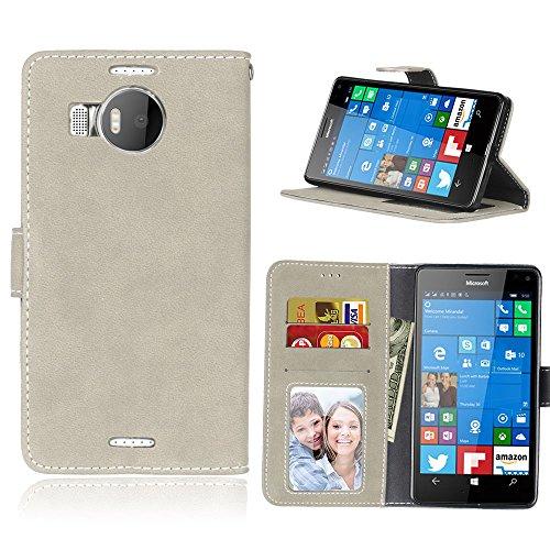 zl one Telefono Caso per Nokia Microsoft Lumia 950XL,PU Custodia in Pelle 3 Carte Slot Credito Flip Cover Case Chiusura Magnetica(Bianco)