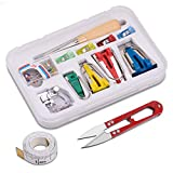 JLI MAY Bias Tape Maker Set, 4 Sizes Bias Tape Makers and Accessories - Binding Foot/Craft Clips/Awl/Quilter's Pin/Tape/Cutter inclued, Make Bias Tape with Simplicity