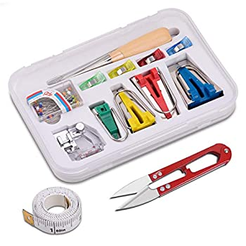 JLI MAY Bias Tape Maker Set 4 Sizes Bias Tape Makers and Accessories - Binding Foot/Craft Clips/Awl/Quilter s Pin/Tape/Cutter inclued Make Bias Tape with Simplicity