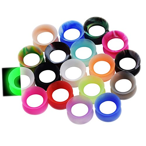 36pcs Silicone Ear Gauges Flesh Tunnels Plugs Stretchers Expander Ear Piercing Jewelry 00g(10mm).