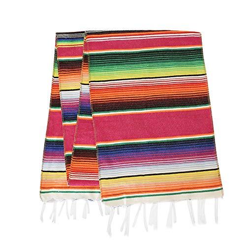 Eccbox Tischläufer mexikanische Serape, 35,6 x 213,4 cm, mexikanische Party-Dekoration, Fransen, Baumwolle, gestreift, Tischläufer Fiesta Dekorationen