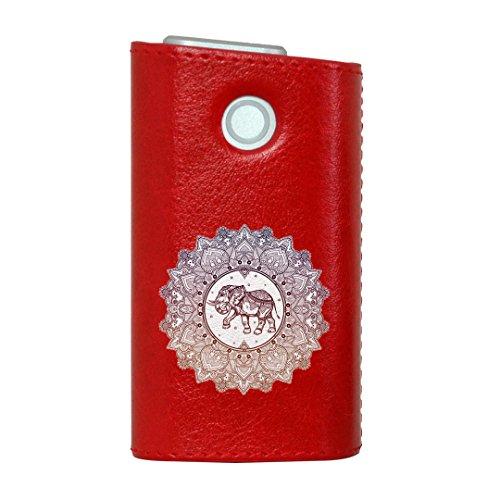 glo グロー グロウ 専用 レザーケース レザーカバー タバコ ケース カバー 合皮 ハードケース カバー 収納 デザイン 革 皮 RED レッド アジアン ゾウ カラフル 010053