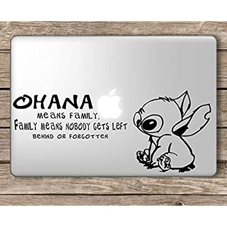 Stitch Ohana Means Family Disney Apple Macbook Laptop Vinyl Sticker Decal Die Cut Vinyl Decal For Windows Cars Trucks Tool Boxes Laptops Macbook Virtually Any Hard Smooth Surface Auto