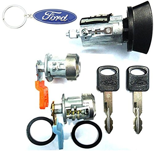 For SELECT Ford Lincoln Ignition Switch Lock Cylinder + Pair (2) Door Lock Cylinder W/2 Ford Oval Logo Keys & Key Chain
