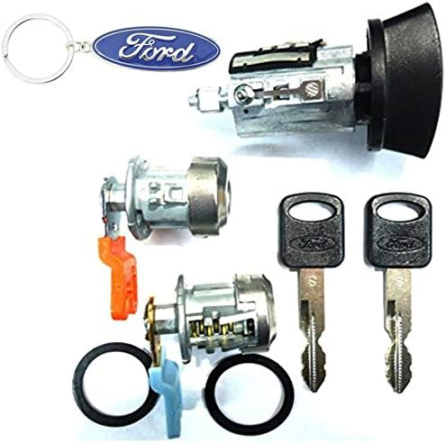 FORD OEM IGNITION SWITCH LOCK CYLINDER WITH 2 TRANSPONDER CHIPPED KEYS