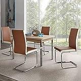 Pharao24 Essgruppe ausziehbarem Tisch in Buche Stühle in Braun Weiß