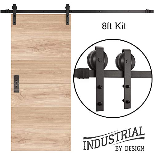 INDUSTRIAL BY DESIGN – 8ft Single Sliding Barn Door Hardware Kit – Ultra Quiet, Designers Choice, All Parts Included, Easy Installation with DIY Video Instructions