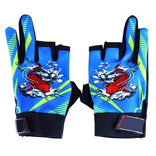 1 paar vissen bedrukt volledige halve vinger handschoenen Skidproof handschoenen (Navy blauw