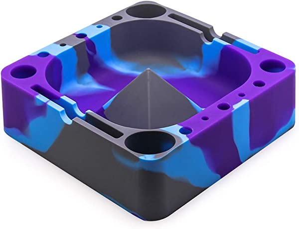 VEEAPE Silicone Ashtray Big Ashtrays For Cigarettes Unbreakable Outdoor Silicone Cigars Ash Tray For Patio Outside Indoor Home Decor Holding Coils Lighters Pens Papers And More Grey Purple Blue