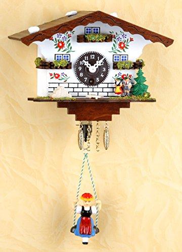 magicaldeco Original Schwarzwald- Miniatur Schaukeluhr mit Puppe - 1 Tag- Federzugwerk -Germany Black Forest