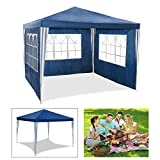 Carpa de jardín para fiestas impermeable de 3 x 3 m de HG, carpa para eventos, camping o asociaciones de alta calidad con tubos de acero, azul