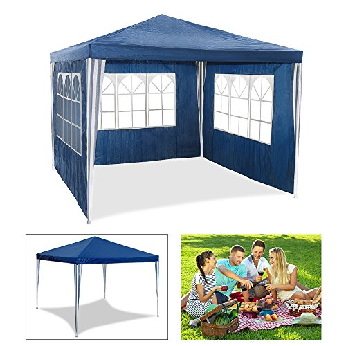huigou HG® Partyzelt Gartenpavillon Bierzelt blau 3x3m mit extra dickem Stahlgestänge Vereinszelt Wasserdicht komplett verschließbar Camping Festival als Unterstand und Plane festzelte Pavillion