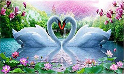 DIY 5D Kit de Pintura Diamante Cristales Bordado de Diamantes Pintura Pintura Pegada Por Número Kits Stitch Craft Kit Decoración Etiqueta de La Pared - Lotus Lake Swan Love, 30x45cm