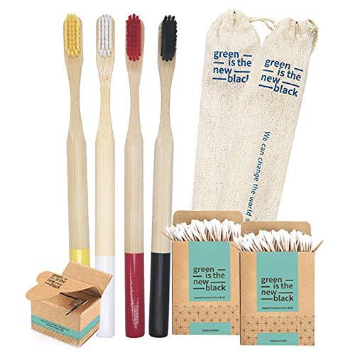 Set Spazzolino Bamboo Anti Muffa 100% Naturale | Spazzolini Legno Bambu Organico, Ecologico e Biodegradabile | Setole Sbiancanti senza BPA | Kit Pulizia denti tartaro | Cotton Fioc, Filo Interdentale
