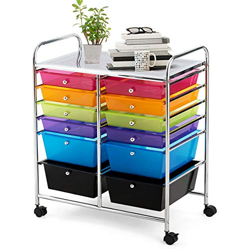 Giantex 12 Drawer Rolling Storage Cart Tools Scrapbook Paper Office School Organizer (Multi-Color)