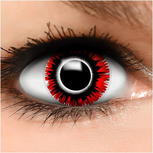 Farbige Kontaktlinsen 'Harakiri' in schwarz & rot & weiß, weich ohne Stärke, 2er Pack inkl. Behälter - Top-Markenqualität, angenehm zu tragen und perfekt zu Halloween oder Karneval