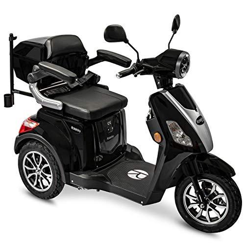 Rolektro E-Trike 25 V.2 Dreirad Schwarz - Elektroroller 1000W - Reichweite 50km - Seniorenmobil mit Straßenzulassung - Koffer USB