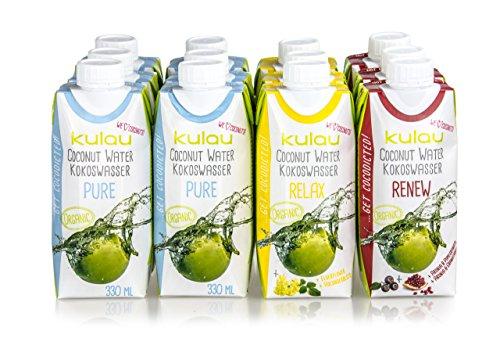KULAU Bio-Kokoswasser - Probierpaket // 6 x pures Kokosnusswasser / 3 x mit Holunderblüte / 3 x mit Granatapfel (12 x 330 ml)