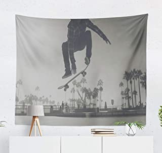 threetothree 50X60 Inches Tapestry Wall Hanging Interior Decorative Skater Boy Skate Park Venice Skateboard California Beach Trick for Bedroom Living Room Tablecloth Dorm