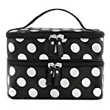 BONAMART Small Travel Makeup Bag Cosmetic Organizer Case for Women, Professional Double Layer Black Pink Dot Toiletry Train Brush Bags With Mirror for Girls Ladies (7.87x4.72x5.51 Inches)
