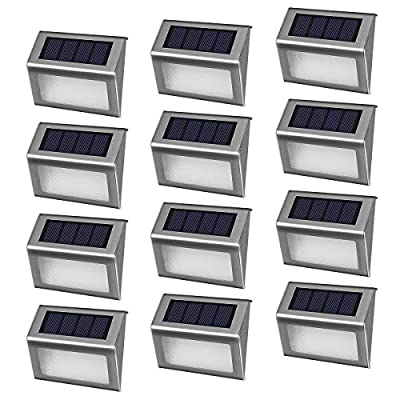 [12 Pack]iThird Solar Powered Step Lights LED Solar Deck Lights Outdoor Daylight Stainless Steel Decoration for Stair Fence Path Auto ON/Off Weatherproof Upgrade