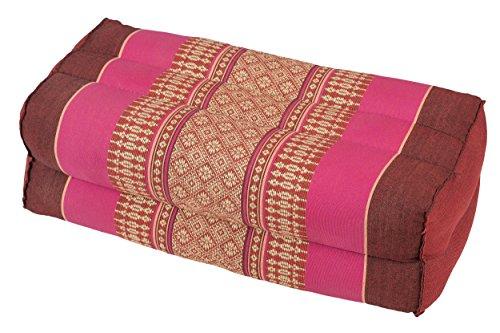 Handelsturm Coussin pour la Meditation Yoga 35x15x10 cm, Rembourrage Kapok, Design traditionell Thai Rose et Rouge