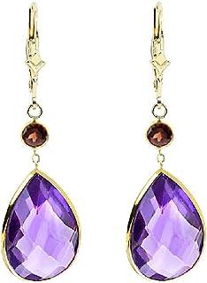 1e204cef6 14K Yellow Gold Handmade Gemstone Earrings with Dangling Pear Shape  Amethyst and Round Garnet Drop