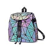 DIOMO Geometric Lingge Women Backpack Luminous Flash Mens Travel Shoulder Bag Rucksack (Small Luminous NO.3)