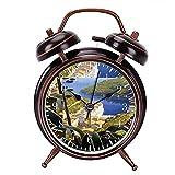 目覚まし時計 - ラリビエライタリアンヴィンテージトラベルの大音量目覚まし時計 バックライト 静か 連続秒針 スヌーズ 電池式 置き時計 卓上時計 直径約4インチ(ブラック)