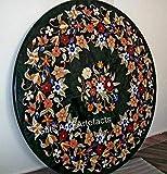 Mesa de comedor de mármol negro con incrustaciones de piedra multicolor arte increíble mesa de patio de artesanía india de 42 pulgadas