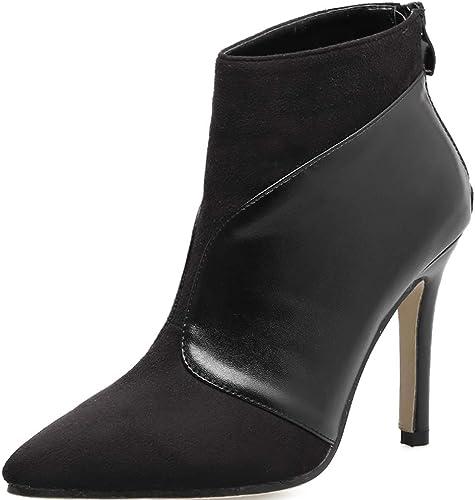 oroGOD zapatos De Vestir De Fiesta De Botines De Cuero De Tacón Alto De mujer, negro,35