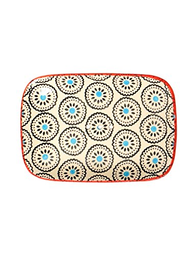 Tranquillo Eckige Seifenschale Matthes aus handbemalter Keramik mit Löchern für den Wasserablauf 13,5 x 9,5 x 2 cm