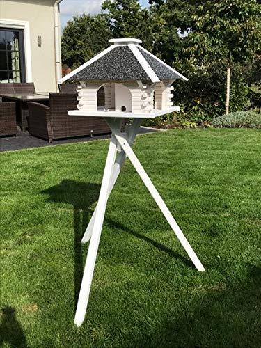 Deko-Shop-Hannusch Vogelhaus, Vogelhäuschen, Futterhaus V 20 Stein Weiss, Vogelhausständer:mit Vogelhausständer, Solarbeleuchtung:mit Solarbeleuchtung