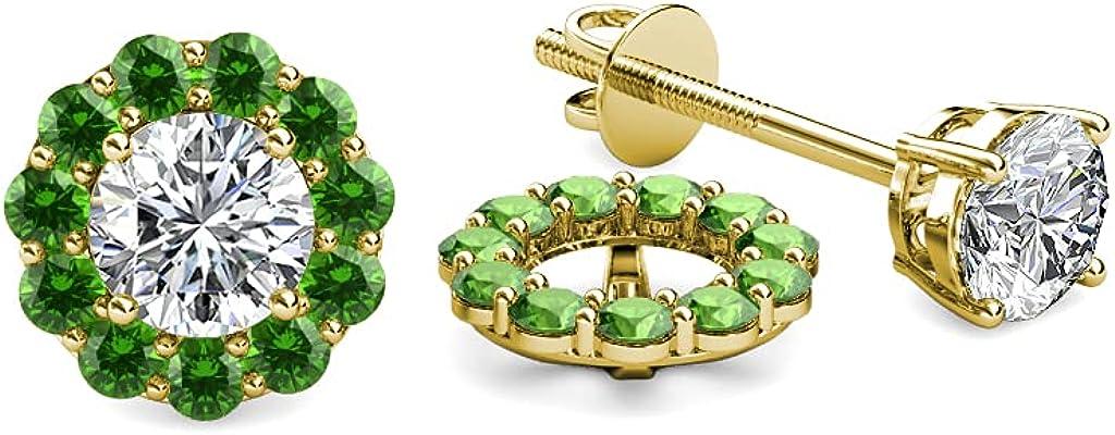 TriJewels Green Garnet Halo Jacket for Stud Earrings 0.66 ct tw in 14K Yellow Gold