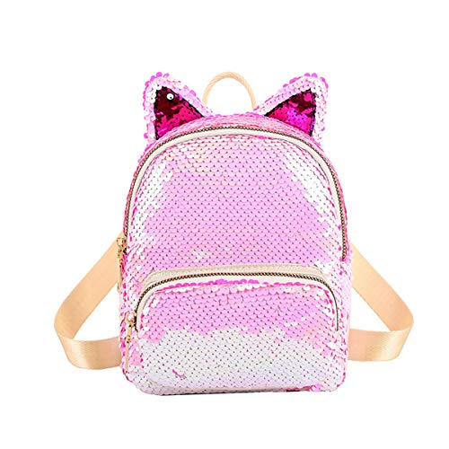 Amamcy Mini Cute Reversible Sequin Backpack with Cat Ear Sparkly Fashion Daypacks Crossbody Bag for Girls Womens