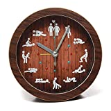 QINGQING Wall Clock Novelty Home Funny Decoration Wooden Wall Color Sex Clock Circular Alarm 12 Kinds Sexy Gestures Positions Living Room