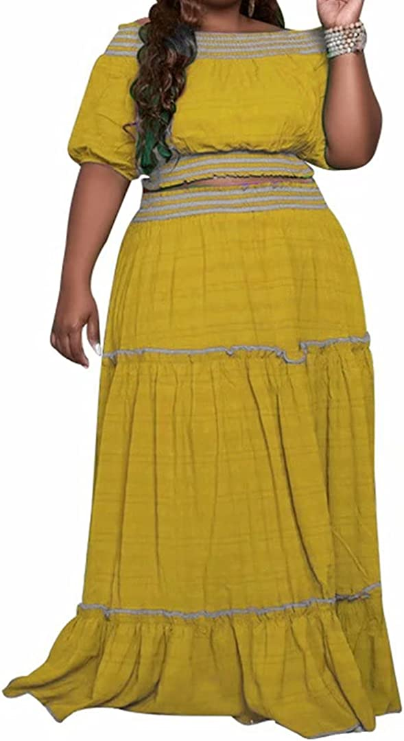 Womens Plus Size 2 Piece Dress Outfits Short Sleeve Crop Tops and Maxi Skirt Sets