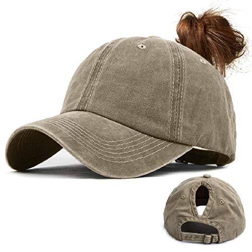 Voqeen Gorras de Beisbol para Hombre Mujeres Classic Ajustable Sombreros de béisbol de Cola de Caballo Moda Color sólido Gorra Retro Unisex Viseras molienda Borde Haga Viejo Sombrero (Caqui)