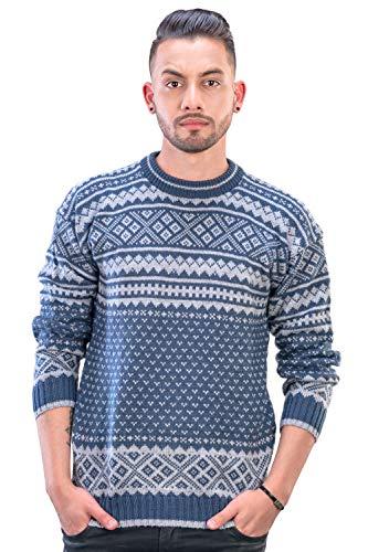 INTI ALPACA Herren Norweger Pullover aus Alpaka Wolle - Strickpullover - Isländer Alpaka Pullover - Stahlblau (Medium)