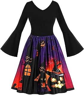 LODDD Women Long Sleeve Vintage Dress Pumpkins Ghost Print Halloween Evening Prom Costume Swing Dress