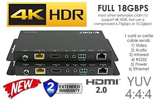 4K HDR HDbaseT Long Range HDMI Extender Kit 330ft 100m ETHERNET 18GBPS Single CAT5e CAT6 CAT7 2.0B 4K @ 60hz UltraHD YUV 4:4:4 Uncompressed Transmitter Receiver IR RS232 HDCP2.2 CONTROL4 Savant