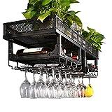 Simplicidad Creativa Aplicación de Decoración de Paredes Botellero para Vino 6 Botellas Botelleros Multifuncionales de Acero Inoxidable para Botelleros, HJJ, Negro